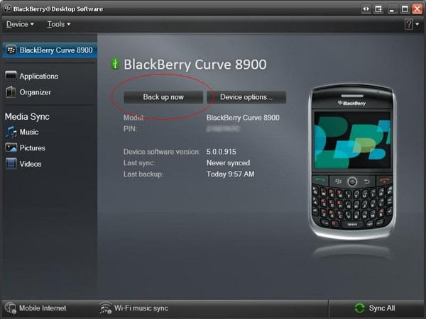 Backup BlackBerry Contacts