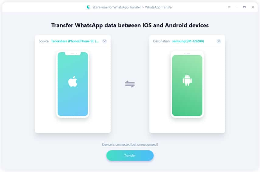 Transfer WhatsApp from iPhone to Galaxy S8 with iCarefone for WhatsApp Transfer