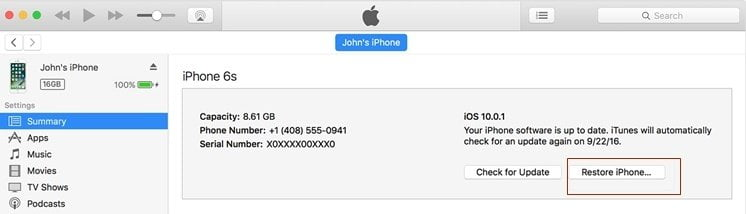 Restore iPhone to fix iPhone call failed
