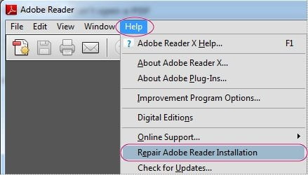 Make PDF Recovery by Repair in Adobe Reader