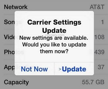 Update Carrier Settings to fix iPhone call failed