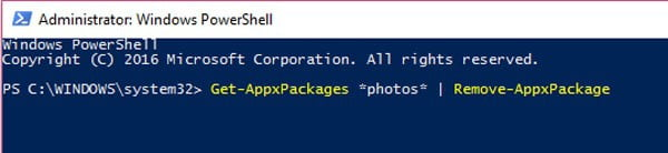 Fix Invalid Value for Registry by Reinstall photos app