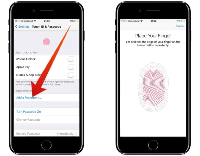 Active iPhone Touch ID