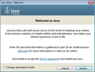 Reinstall Java to fix Could Not Create The Java Virtual Machine