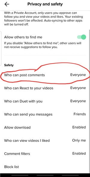 Tiktok Parental Controls -  Restricting Comments on Your Kid's Post