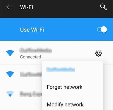forget wifi network to fix Fix Android Phone Won't Connect to Wi-Fi