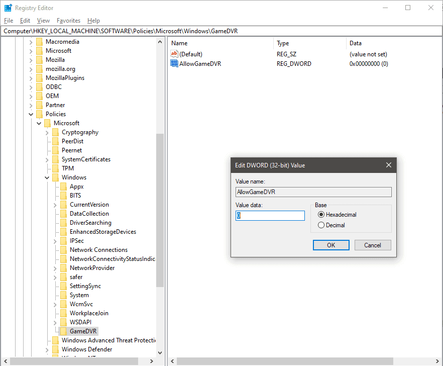 Use Regedit feature to disable GameDVR