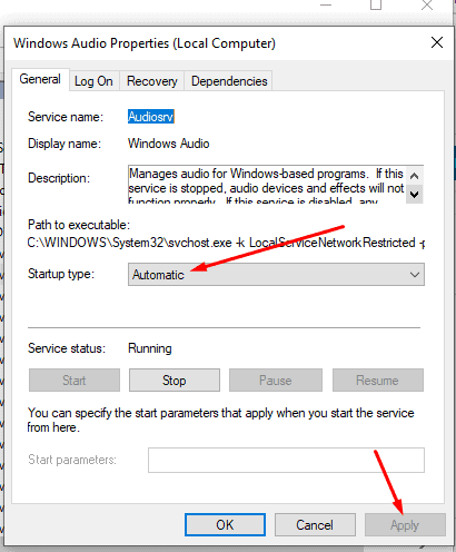 Give Windows Audio service and its dependencies a restart