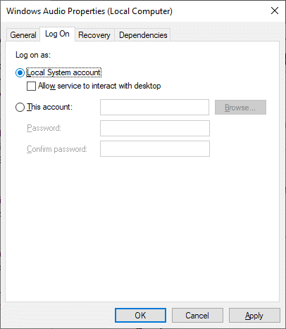 Reconfigure your log-on settings