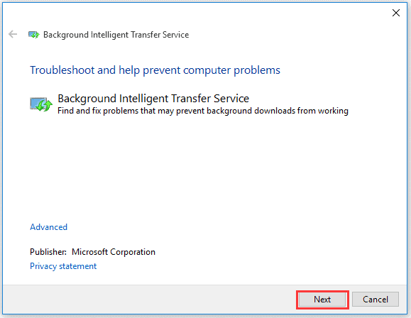 Running the BITS troubleshooter