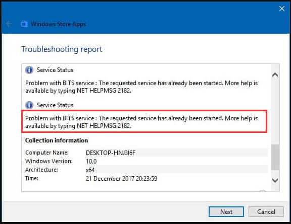What is the meaning of the Net HELPMSG 2182 error?