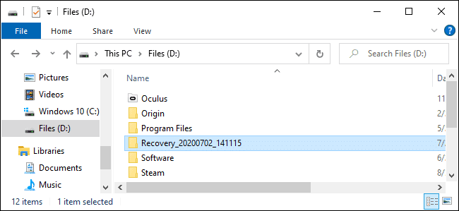 How can you recover a file using the Default Mode