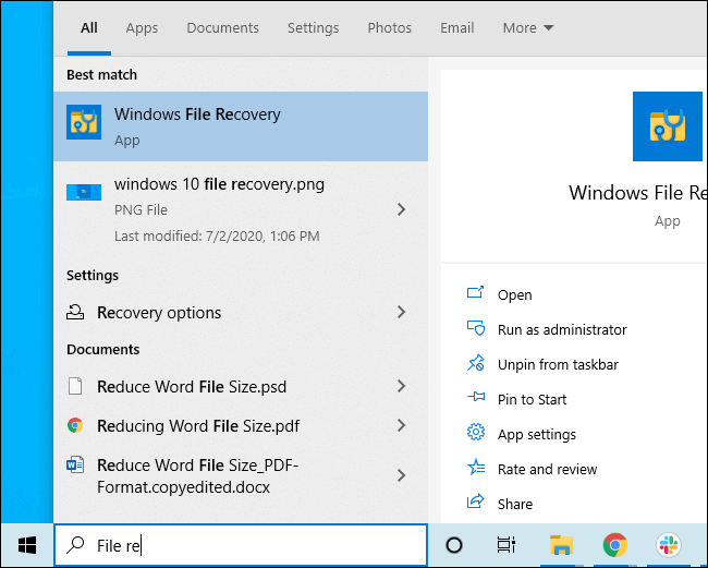 Installing Windows File Recovery