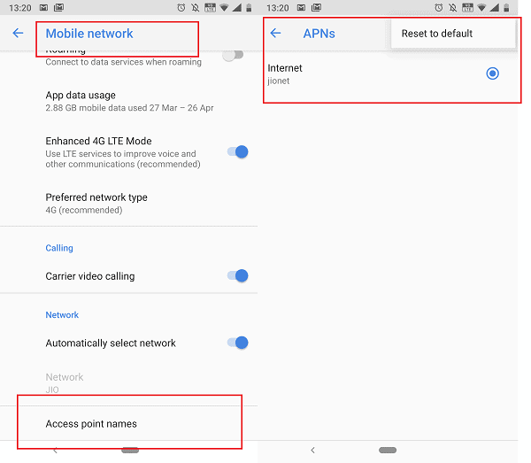 Reset the APN settings to fix Instagram Unknown Network Error