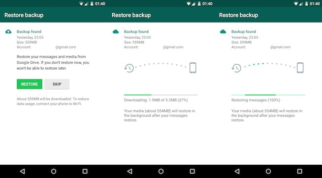 Use Google Drive Backup to transfer WhatsApp data from Samsung to Huawei