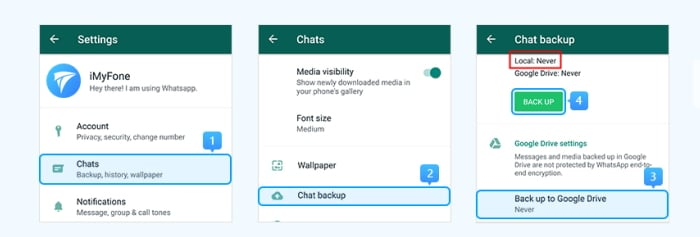Transfer WhatsApp from Samsung to Huawei Use Local Backup