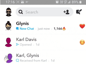 Open only half of the Snapchat notification