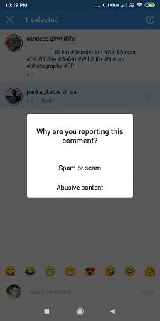Instagram Parental Controls - Reporting an inappropriate comment