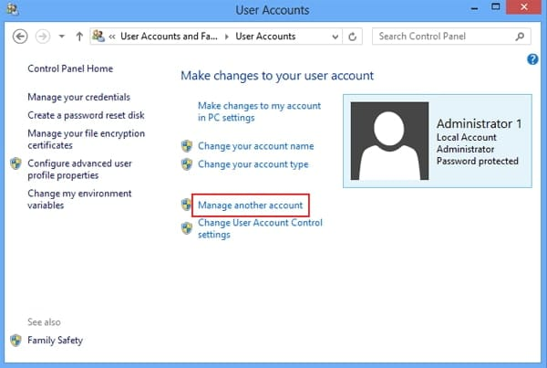 Resetting password through a different Admin account