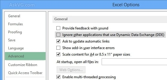 Changing the DDE Box settings to fix Excel File Not Opening