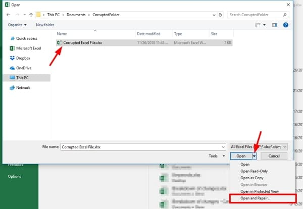 Repairing the Excel files in case of damage to fix Excel File Not Opening