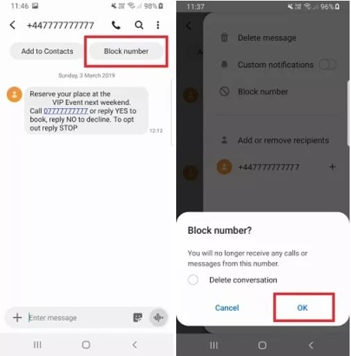 Blocking spam messages on your Samsung device through Settings