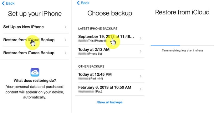 Restore your iPhone using iCloud