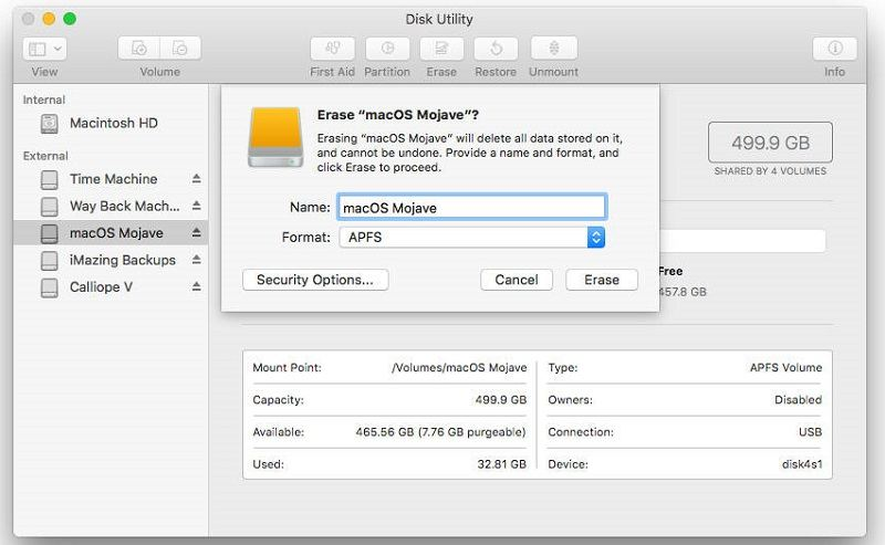 Erase the volumes seleted to fix Erase Process Has Failed on Mac